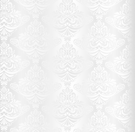 Wedding white damask pattern with vintage floral ornament 向量圖像