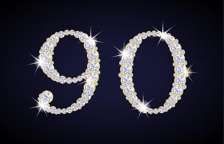 Número 9 y 0 compuestas de diamantes con marco dorado. Completar conjunto alfanumérico. Foto de archivo - 44166139