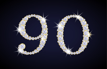 zircon: Number 9 and 0 composed from diamonds with golden frame. Complete alphanumeric set.