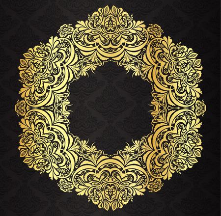 ornate frame: Decorative golden vintage frame with black victorian pattern background