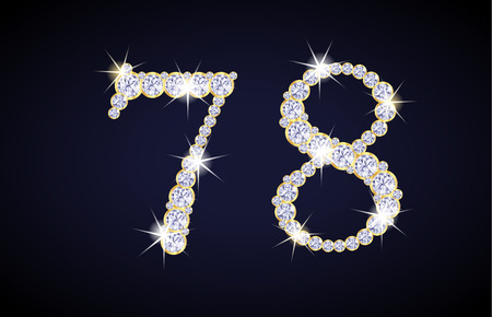 zircon: Number 7 and 8 composed from diamonds with golden frame. Complete alphanumeric set. Illustration