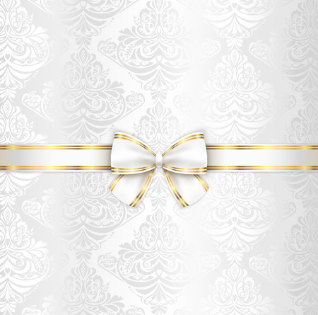 champaigne: White luxury wedding cover template with white ribbon