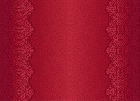 golden frame: Red luxury vintage background with floral ornament