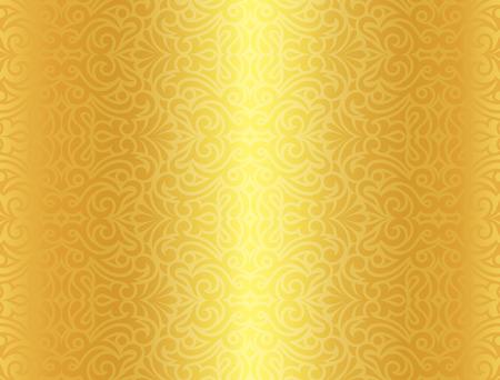 Fond d'or luxe avec vintage pattern Vecteurs