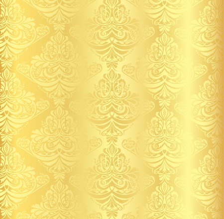 wall paper: Gold damask pattern with vintage floral ornament