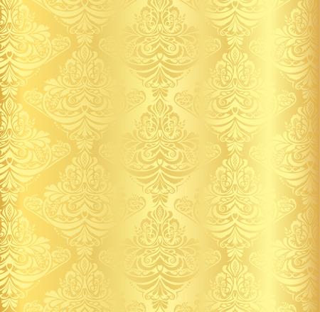 Gold damask pattern with vintage floral ornament