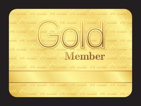 tarjeta del club miembro de oro con un pequeño modelo de estrellas
