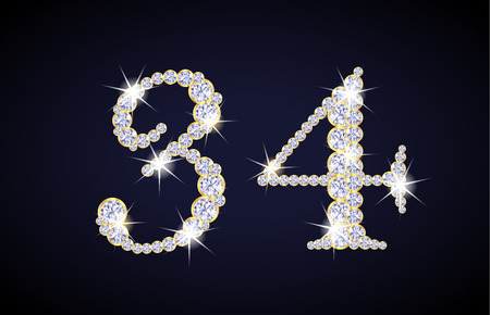 zircon: Number 3 and 4 composed from diamonds with golden frame. Complete alphanumeric set. Illustration
