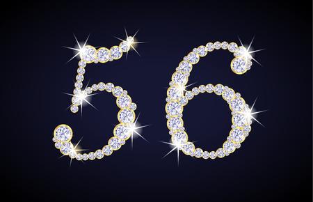 nombre d or: Nombre 5 et 6 composées de diamants avec cadre doré. Ensemble complet alphanumérique.