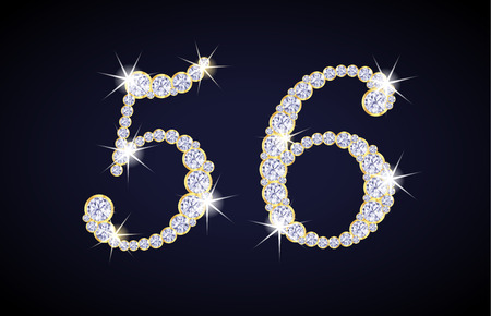 Number 5 and 6 composed from diamonds with golden frame. Complete alphanumeric set.