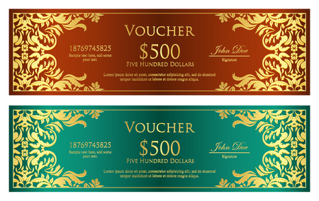 classic: Luxury brown and green voucher with golden vintage ornament