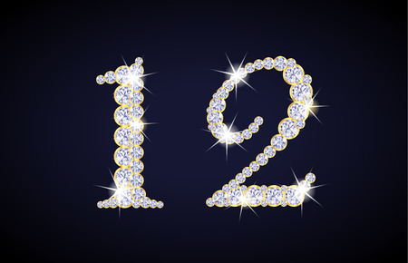 Number 1 and 2 composed from diamonds with golden frame. Complete alphanumeric set.