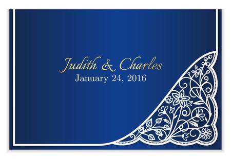Annonce de mariage bleu avec dentelle florale blanche