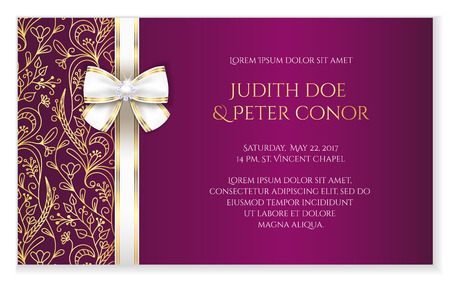 Fuchsia romantic wedding announcement with golden floral ornament