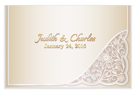 vintage lace: Champagne wedding announcement with silver floral lace