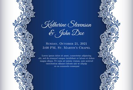 Romantische bruiloft uitnodiging met blauwe achtergrond en bloemenornament als decoratie Stock Illustratie