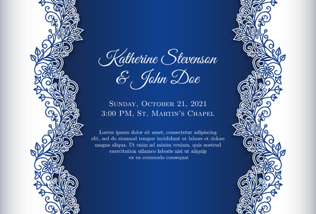 Romantic wedding invitation with blue background and floral ornament as decoration