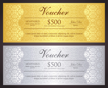 lace background: Luxury golden and silver gift certificate in vintage style