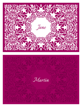 junket: Festive wedding name card with floral ornament