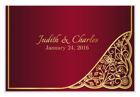 黄金の花レースが付いて赤い結婚式発表