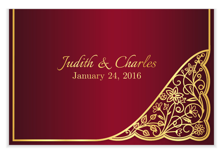 Red wedding announcement with golden floral lace