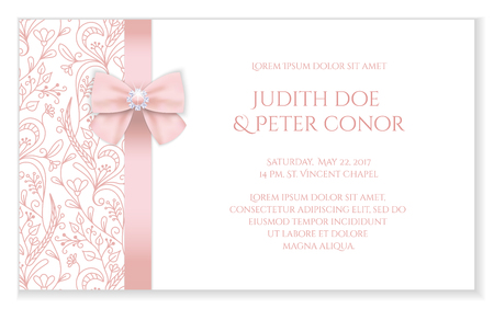 Romantic wedding announcement with pink floral ornament Vectores