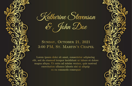 wedding guest: Romantic black wedding invitation with golden floral ornament