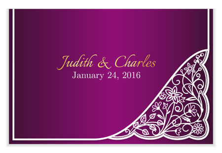lady: Fuchsia wedding announcement with white floral lace
