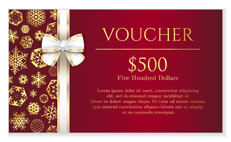 new year card: Luxury red Christmas voucher with golden snowflakes and white ribbon