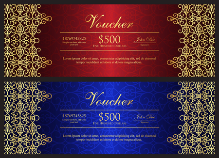 give away: Red and blue voucher with gold ornamental pattern