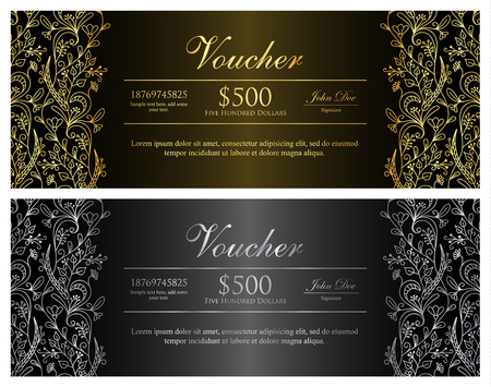 black and silver: Black voucher with gold and silver floral pattern Illustration