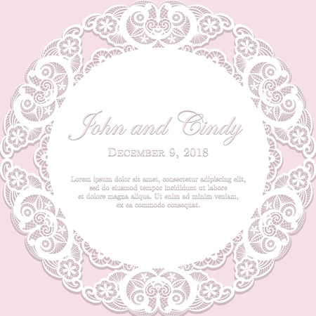 annotation: Romantic wedding announcement with white lace