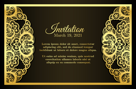Vintage invitation cover nera con decorazione dorata pizzo Archivio Fotografico - 47714117