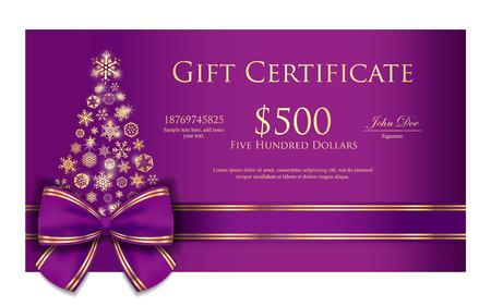 morado: Certificado exclusivo regalo de Navidad con la cinta p�rpura y los copos de nieve de oro Vectores