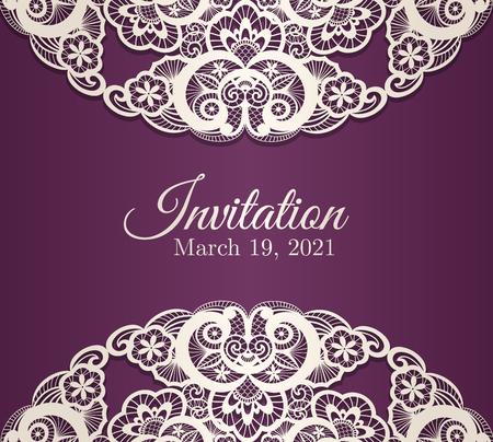 floral vectors: Vintage purple invitation cover with cream lace decoration Illustration