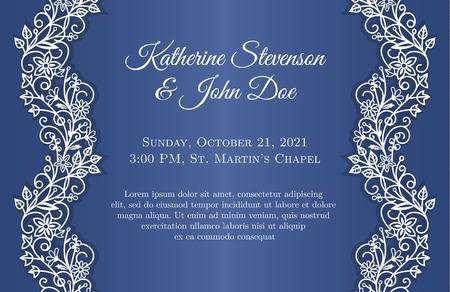 Blue wedding invitation with white lace decoration Illustration