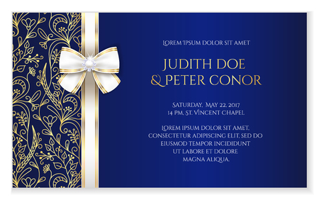 date: Royal blue romantic wedding announcement with golden floral ornament
