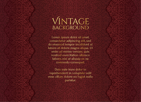 vintage banner: Brown luxury vintage background with floral ornament