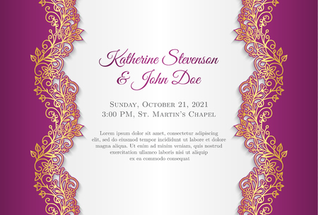 Fuchsia wedding announcement with gold floral ornament