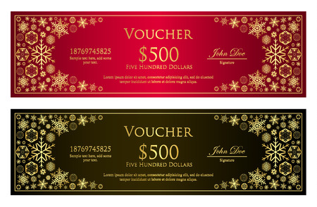 give away: Luxury red and black Christmas voucher with golden snowflakes