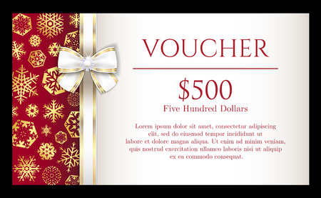 Luxury Christmas voucher with golden snowflakes and white ribbon Vectores