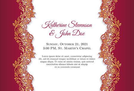 the spouse: Classical wedding invitation with golden ornament and red border Illustration