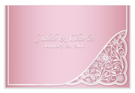 vintage lace: Pink wedding announcement with silver floral lace