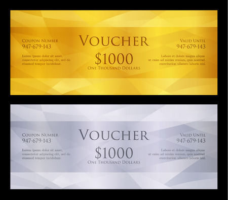autoriser: Luxury golden and silver voucher with modern background Illustration