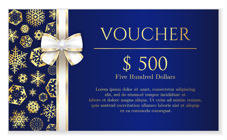 Blue Christmas voucher with golden snowflakes and white luxury ribbon