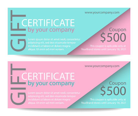cut away: Creative gift certificate with pink and turquoise background