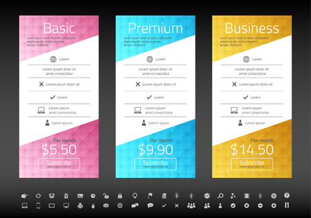 the list plan: Modern pricing list with 3 options in turquoise, blue and raspberry color. Set of icons included Illustration