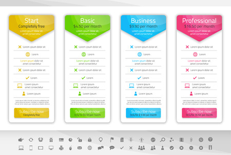 Light pricing table with 3 options. Icon set included Illustration