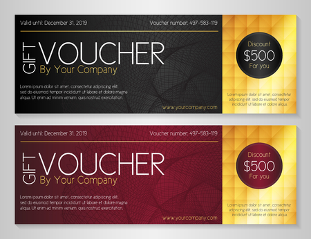 Simple modern voucher with watermark and golden decoration
