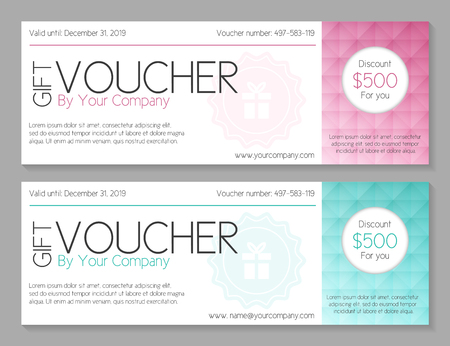 cut away: Simple modern voucher with watermark and geometric decoration